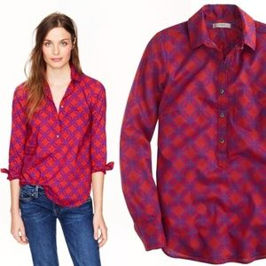 J. Crew Women Shirt Popover Top in Ratti Geo